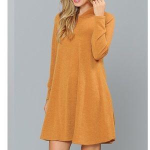Plus Size Hooded  Knit Swing Dress